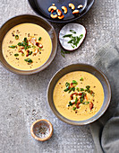 Chickpea soup with cashew nuts and almond puree