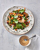 Moroccan chickpea salad with dates and spinach