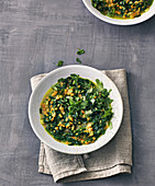 Red lentil dal with spinach