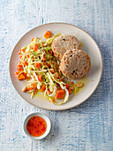 Vegan chickpea 'meatballs' with pointed cabbage and papaya salad