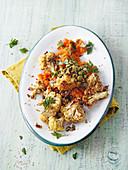 Vegan sweet potato mash with chilli and cauliflower