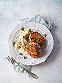 Fish cakes with creamy sauerkraut