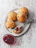 Quick oat rolls with berry-lemon jam