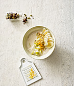 Chai buttermilk with fruit and hemp seeds