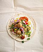 Falafel kebab with soy yoghurt dip
