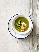 Cold cucumber soup with soy cream