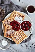 Belgian waffles with hot cherries (vegan)