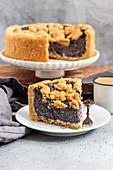 Vegan poppy seed crumble cake