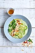 Ayran-cucumber soup bowl with chilli