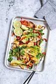 Grilled calamari with pak choi