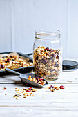 Homemade granola with dried sour cherries