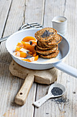 Poppy seed pancakes with apricots