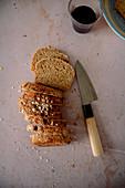 Oat spelt bread cut into slices
