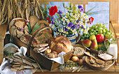 Still life with wholemeal bread, cereals, wholemeal flour, sunflower seeds, oat flakes, fruit, milk