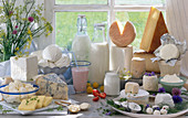 Various dairy products in front of a window
