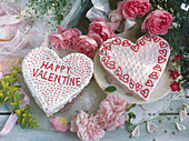 Two heart-shaped Valentine's Day cakes