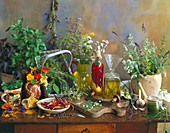 Still life with herbs and herb oils