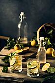 Flavoured Water mit Zitronen- und Limettenscheiben