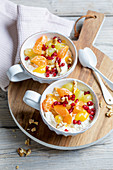 Sea buckthorn quark and muesli with fruit