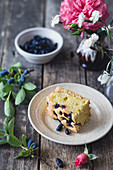 Slice of a blueberry coffee cake
