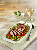 Crispy duck breast with edamame