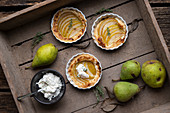 Pear tartelettes with fresh ricotta cheese
