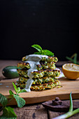 Courgette pancakes with mint sauce