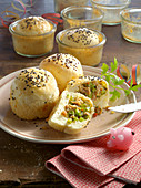 Bread rolls baked in a jar with minced meat and vegetable filling