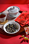 Crunchy Seasame Rice Candy and tea (China)