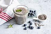 Blueberry smoothie with psyllium seeds