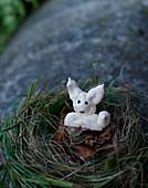 Meringue Easter bunnies in Easter nests