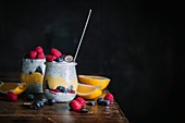 Skyr Chia Pudding with Lemon Curd and Berries
