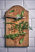 Sage, dill, tarragon and thyme on a wooden board