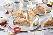 Apple pie with apple pieces and crumble