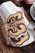 Marble babka with icing sugar