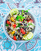 Cauliflower rice with aubergines and tomatoes