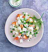 Kohlrabi-salmon with dill cream