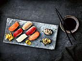 Sushi platter with nigiri and gunkan