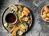 Vegetable and prawn tempura