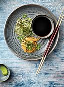Zaru-Soba - Cold Japanese soba noodles with Mentsuyu sauce