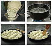 Sushi rice being made
