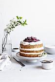 Cherry naked cake with cream