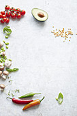 Edamame, Pilze, Gemüse, Linsen und Kräuter