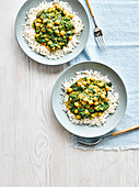 Chickpea, spinach and almond butter bowl