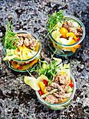 Asia salad with porc filet