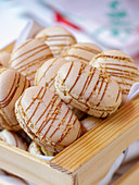 Macarons in a wooden box