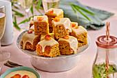 Carrot cake, diced