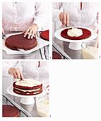 Red Velvet Cake zubereiten: Tortenböden durchschneiden und mit Creme bestreichen