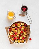 Mini pancake bowl with raspberries