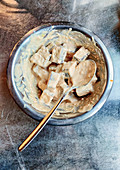 Marinated tofu in a bowl